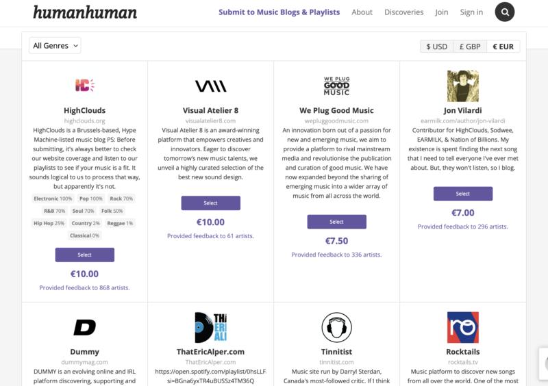 HumanHuman promotion musicale campagne de promotion curateurs relations presse musique